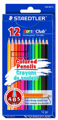Staedtler Colored Pencils, 12 Colors, Pre-Sharpened (144NC12)