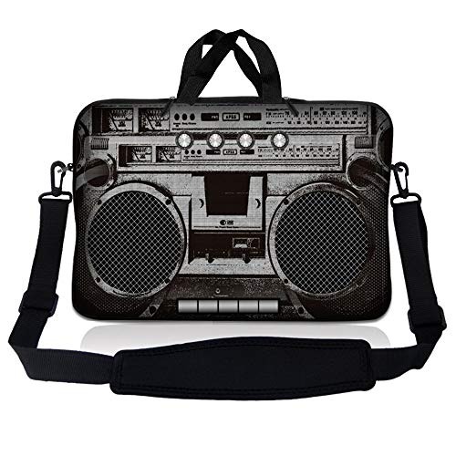 LSS 14.1 inch Laptop Sleeve Bag Carrying Case Pouch w/ Handle & Adjustable Shoulder Strap for 14' 14.1' Apple Macbook, GW, Acer, Asus, Dell, Hp, Sony, Toshiba, Cassette Player Design