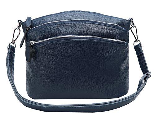 Heshe Womens Leather Handbags Shoulder Bag Small Bags Designer Handbag Crossbody Satchel and Purses for Ladies (Blue)