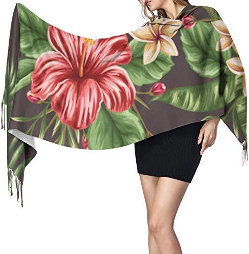 Bufanda de cachemira ligera con patrón floral tropical sin costuras, de cachemira, de 196 x 68 cm, de cachemira, extra cálida