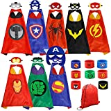 Dress up Costume Superhero Capes Set with Drawstring Backpack and Wristbands for Kids, Birthday Party Children (8PCS)
