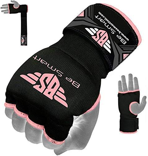 Be Smart Box-Handschuhe, Gel gepolstert, Innenhand-Wickel, MMA, UFC, Herren damen Kinder, schwarz / rosa, S