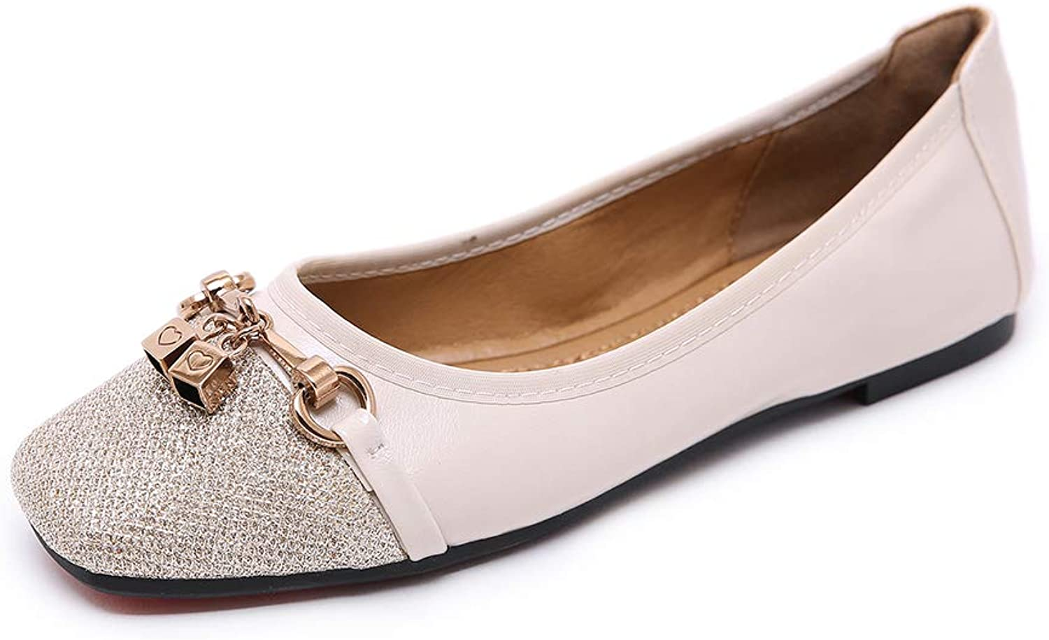 AGOWOO Loafers for Women, Fashion Metal Lock Slip On Flat Dress shoes