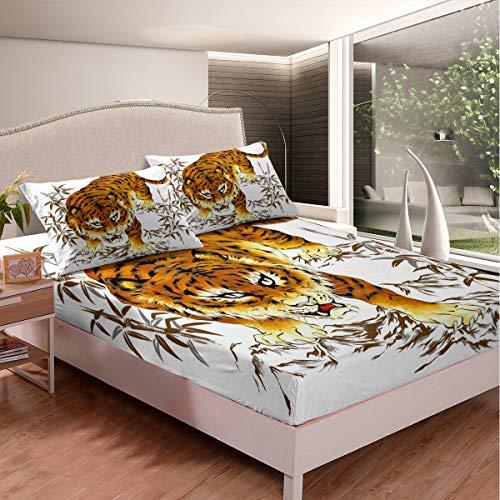 Juego de sábanas de tigre pintado a mano para niños y niñas 3D patrón de animales hojas bambú montaña paisaje natural colcha dormitorio colección 2 piezas tamaño individual