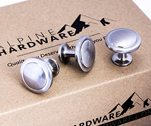 Cabinet Hardware Bin Cup Round Knob Drawer Handle Pull… (25 Pack, Cup Pull - Satin Nickel)