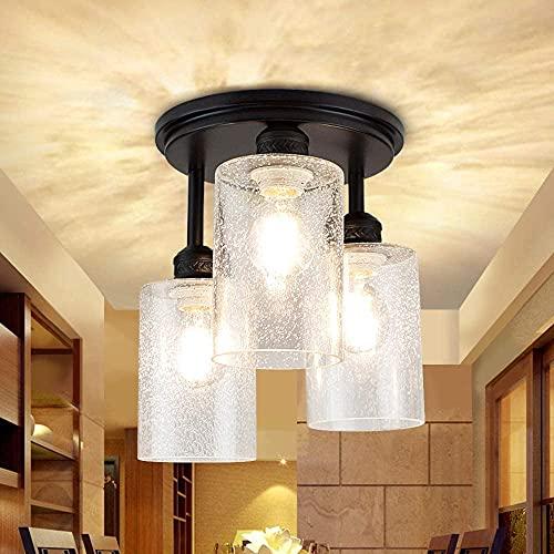 Depuley LED Deckenleuchte 3-Flammig Glas, Deckenlampe Modern, Vintage Lampe Retro Design, E27 Sockel Perfekt für Wohnzimmer (Ohne Birne), Schwarz
