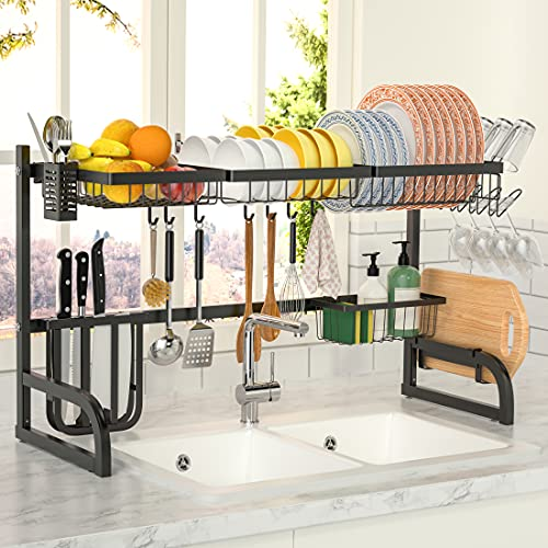 """OTTOLIVES Over The Sink Dish Drying Rack,2 Tier Adjustable Dish Rack (33.5""""-39.4"""") Length Expandable Kitchen Organization Storage Rack, Dish Drying Rack for Organizer Home Kitchen Counter Space Saver"""