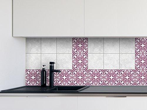 Pegatinas de cocina Patrones de rosas Película de vinilo para azulejos de la pared del baño Diferentes tamaños - 16pcs