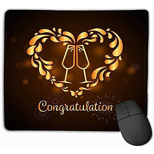 Anti-slip Dikke Rubber Grote Mousepad 30X25CM Goud Twee Glazen Champagne Hartvorm Spatbord Gefeliciteerd Tekst Ontwerp Hipster