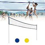 fllyingu Set de Red de Voleibol de PlayaRed de Tenis Bádminton Portátil Desplegable Ajustable con Soporte,Resistente Portable pour Badminton, Volley-Ball, Tennis