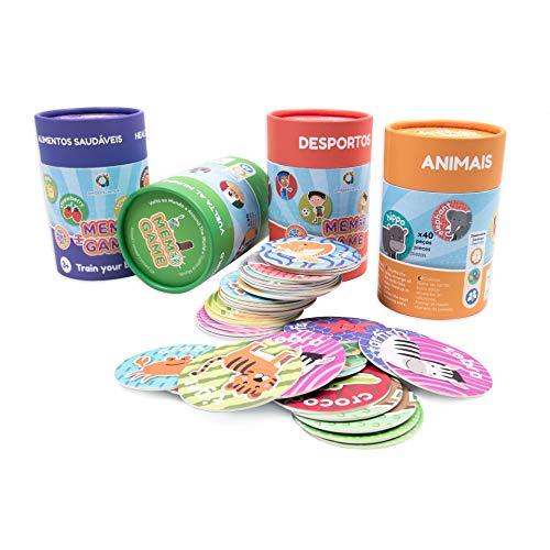 ambarscience- Memo Games Animales - Juego de Memoria Educativo para Buscar Las Parejas y Aprender Las Palabras en inglés,con 40 Piezas, para niños 3+. (Ambar Passion S.A. 6162800030020)
