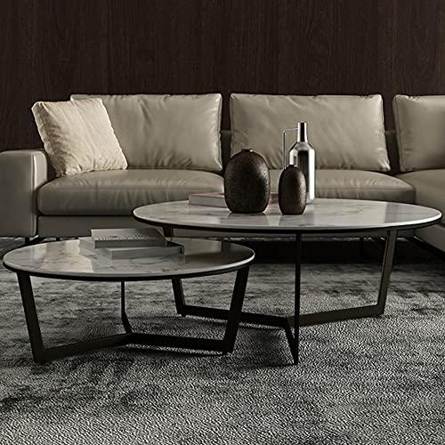 Mesa de centro, mesa de centro, mesa de salón de pizarra redonda, mesa de refrigerios desmontable, 2 mesas de sofá para el hogar, ahorro de espacio/estructura de metal/B / 70+50cm