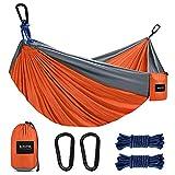 Kootek Camping Hammock Double & Single Portable Hammocks with 2 Hanging Ropes, Lightweight Nylon Parachute Hammocks for Backpacking, Travel, Beach, Backyard, Hiking (Orange & Grey, Large)