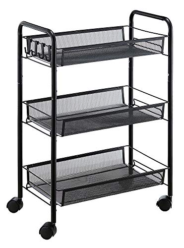 JANE EYRE 3-Tier Rolling Utility Storage Rack Cart on Wheels, Trolley Craft cart, Multi-Purpose Organizer Shelf, Black