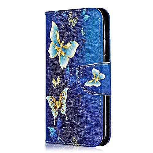 Bear Village Coque Galaxy J2 Pro 2018, Motif Peint Étui en Cuir avec Slots pour ID et Cartes, Premium Housse avec Fonction Stand pour Samsung Galaxy J2 Pro 2018 (#6 Papillon)