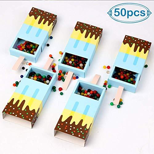 Oestlich Korridor Lot de 50 mini boîtes à glaçons en forme de crèmes de Suessence, Nette Baby Shower Gefaelligkeiten Boîtes cadeaux pour bébé Shower Birthday Party Décoration Rose, bleu, taille unique