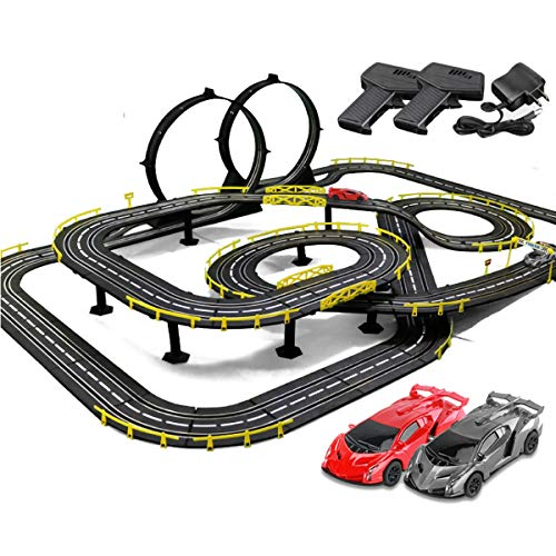 Pistas De Carreras 11.8m Rail Car Slot Racing Set Tracer Racers R/C High Speed Control Remoto Control Plaza Vehículo Playets (Color : Electric, Size : 4 Cars)