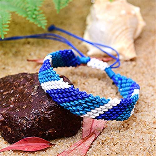 XXXXW Pulsera Niña Pulsera de Amistad de la Cuerda de Cera Mujeres Hecho a Mano Boho Summer Surf Wrap Charm Femme Joyería (Metal Color : 1)