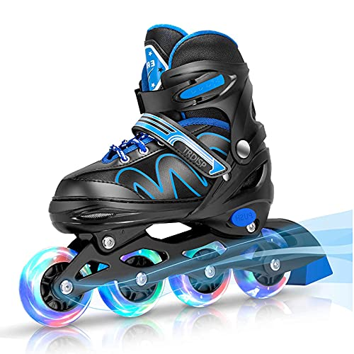 Inliner Kinder, ABEC-7 Chrome Kugellager Einstellbare Unisex Fitness Inline-Skates für Erwachsene Anfänger mädchen Jungen Kinder Herren Damen (Blau, M (33-37))