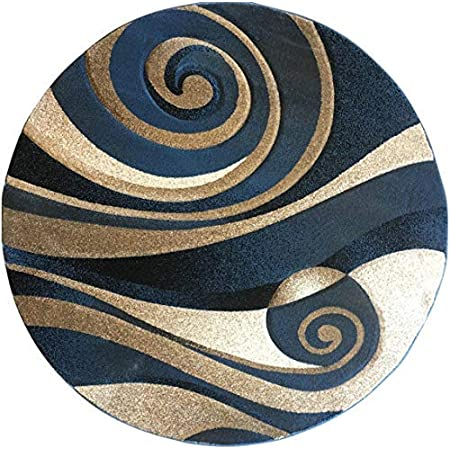 Amazon Com Modern Round Contemporary Area Rug Light Blue Beige Black Ivory Abstract Sculpture Carpet King Design 258 7 Feet 8 Inch X 7 Feet 8 Inch Kitchen Dining