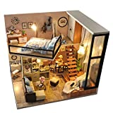 Jusoo DIY Miniature Dollhouse Kit Dust Proof Cover, Wooden DIY Dollhouse Kit Plus