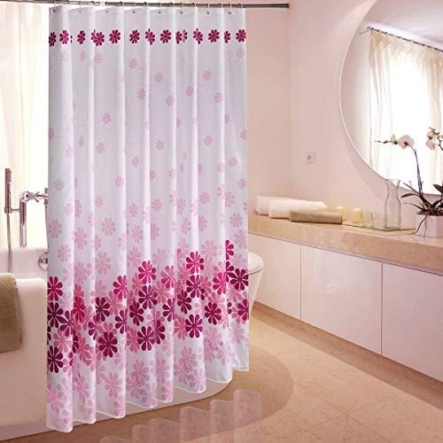 Floralrx Duschvorhang, Pfirsichblüten-Druck, wasserdicht, schimmelresistent, Duschvorhang mit Duschvorhang-Haken, 180 x 180 cm