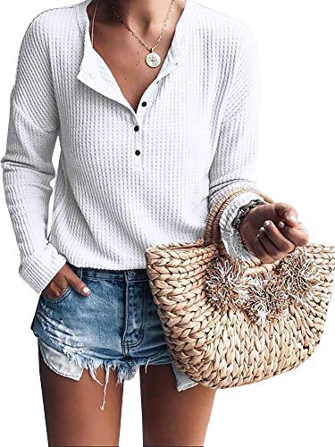 Womens Henley Shirts V Neck Long Sleeve Button Down Tops Warm Waffle Knit Tees White