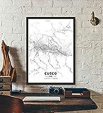 ZWXDMY Leinwand Bild,Peru Cusco City Karte Schwarz Weiß