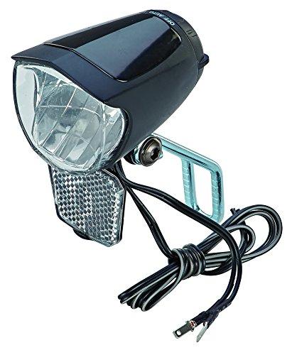 Prophete LED-Scheinwerfer 70 Lux, mit EIN-/Ausschalter, mit Standlicht und Sensorautomatik, Abnehmbarer Reflektor und Nirosta Halter, für Naben-und Seitendynamo, schwarz, one size