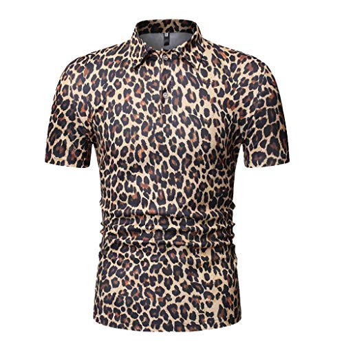 Shirt for Men, F_Gotal Men's T-Shirts Short Sleeve Leopard Print Turn-Down Collar Buttons Down Casual Tees Blouse Tops Yellow