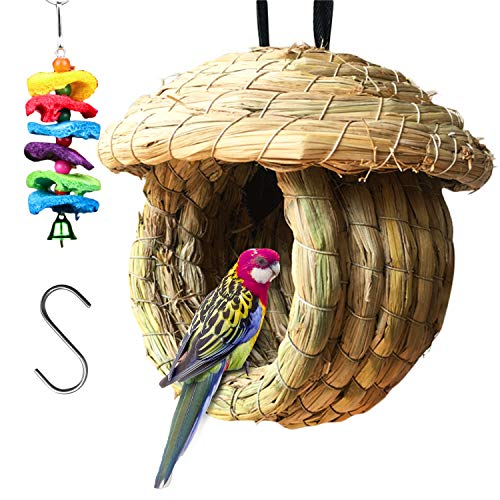 S-Mechanic Birds Nest Eco-Friendly Straw Birds Cages 100% Natural Fiber Birdhouse with Birds Toy and S Hook for Hanging