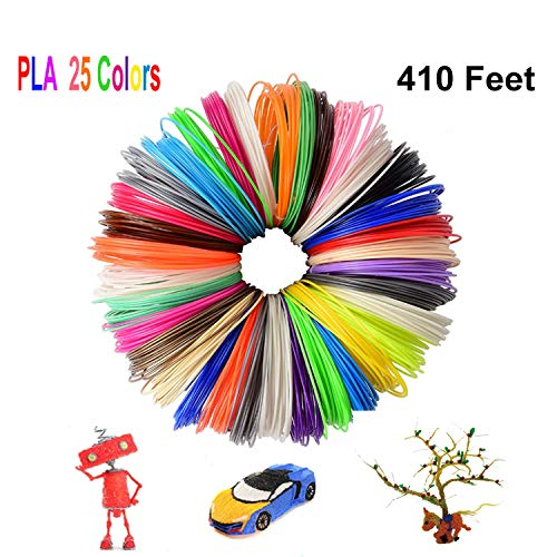 Z-synka 3D Pen/3D Pen PLA Filament Refills(25Colors,410Feet),PLA Filament 1.75mm,No Stuck,Non-Toxic and Odorless Printing Filament for Kids Odorless Refill for 3D Drawing Pens and Creation,Printers.