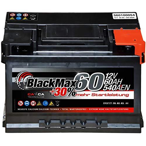 Autobatterie 12V 60Ah 540A BlackMax Starterbatterie ersetzt 55Ah 56Ah 61Ah 62Ah 63Ah