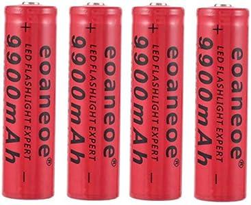 4 Piezas Original Rojo 18650 BateríA 3,7 V 9900 mAh BateríA De Iones De Litio Recargable BateríA De Iones De Litio Para Linterna Pilas Acumuladoras De Antorcha