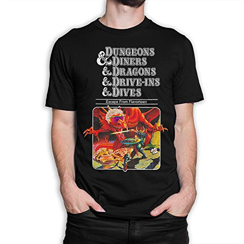 Dungeons and Dragons Funny T-Shirt, Dungeons & Diners & Dragons & Drive-Ins & Dives DND Tee (L) Black