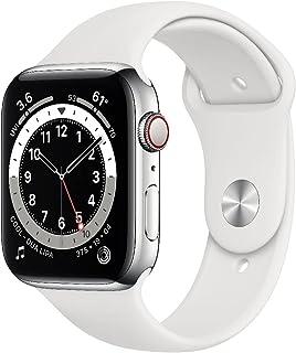 AppleWatch Series6 GPS+Cellular, Koperta 44mm, Stal Nierdzewna, Srebrna, Pasek Sportowy, Biały – Standardowy