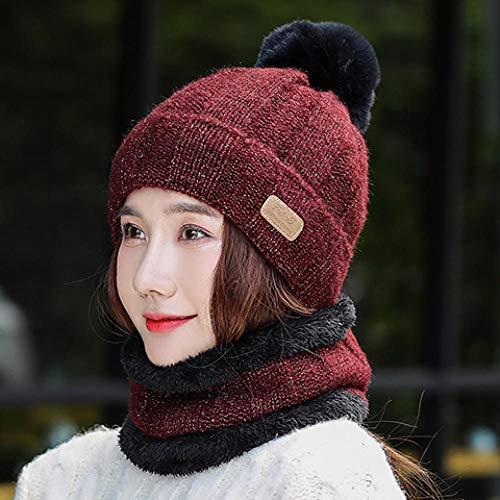 Sombrero de lana sombrero femenino letras de otoño e invierno japonés dulce y linda versión coreana de marea salvaje más terciopelo grueso gorro de punto cálido-Talla única (56-58cm)_vino tinto