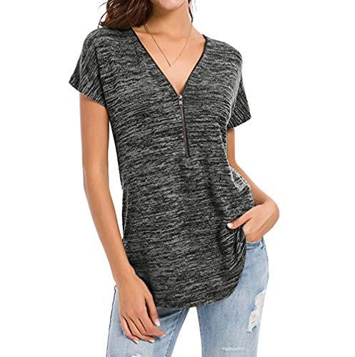 Dehots Damen T Shirt Kurzarm Tops Tunika Shirts Bluse T-Shirt Oberteil Kurzarmshirt Tee Lose V-Ausschnitt Sommer Grau, Grau, XL