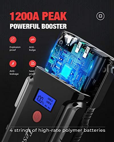 Avviatore Batteria Auto, 1200A 18000mAh Impermeabile Avviatore Emergenza per Auto/Moto (Motori Fino a 7.2L Benzina/5.5L Diesel), Torcia LED SOS, con Due USB 3.0 Porta di Ricarica Veloce
