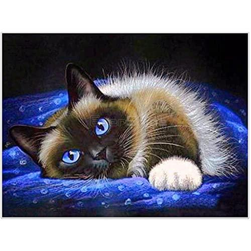 Pintura De Diamante Para Ninos,gato siames Diamond Painting 40x50cmdiamantes de cristal de imitación decoración de pared para el hogar