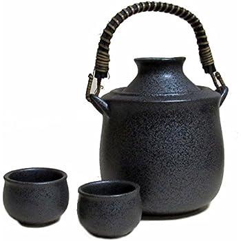黒結晶 酒燗器(大) 手付き【盃 2個付】