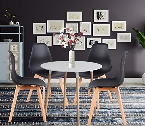 ZMALL 4er Set Esszimmerstühle + MDF Rund Esstisch Buche Holzbeine Eckstühle Esszimmer Möbel für Küche Lounge Wohnzimmer Restaurant Balkon