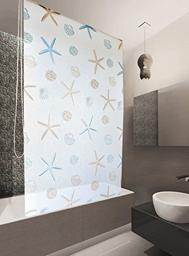 KS Basic DUSCHROLLO 140x240 cm DUSCHVORHANG Modell Oceanic Weiss BLAU BRAUN! Shower Rollo Curtain!