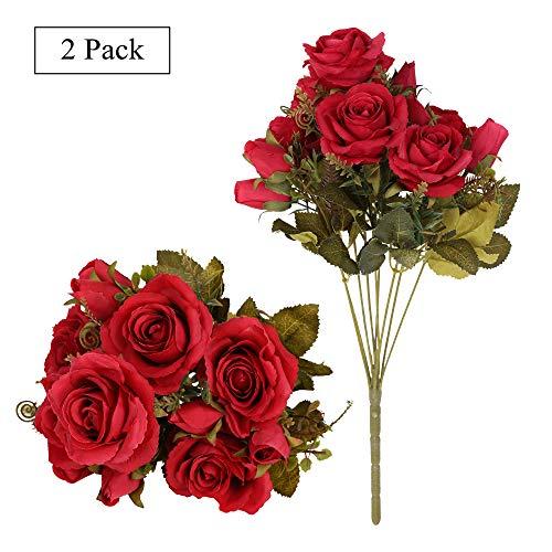 Tifuly Rosas Artificiales, 2 Ramos 12 Flores de Seda Cabezas de Flores