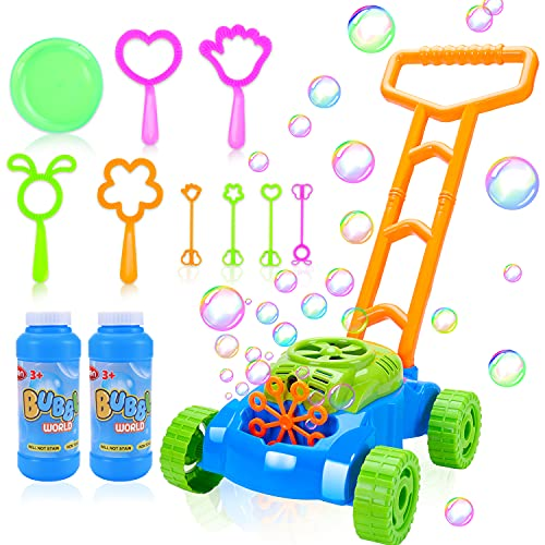 Toddler Bubble Machine Lawn Mower, Toys For 1 2 3 Year Old Boys Girls Automatic Bubble Blower Machine Solutions, Outdoor Push Toys for Baby Kids Summer Outside Toy 8Pcs Bubble Wands Party Favor Gift