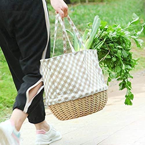 Cesta de compras de ratán Cesta de picnic Cesta de bambú Tela de mimbre Tela Mano Cesta de fruta Cesta de frutas Cesta de regalo Cesta de verduras Yellow2 Sauce Hardper Suministros para Fiesta al aire