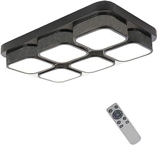 YESDA Lámpara de techo LED Moderno design Lámpara de baño cuadrado Ahorro de energía de blanco Iluminación de techo moderna Ahorro De Energía De Luz De (Negro-72W Regulable)