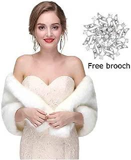 Yfe Women's Faux Fur Shawls Wraps Wedding Sleeveless Fur Wrap Shawl For Women 1920s Fur Stole Capelet