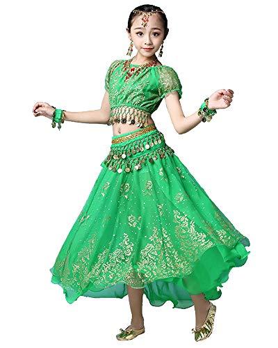 Grouptap Bollywood Indio niña niños Folk bharatanatyam Danza del Vientre Falda Verde Superior de 2 Piezas Traje de Traje de Rendimiento de los niños Trajes (Verde, 105-130cm)