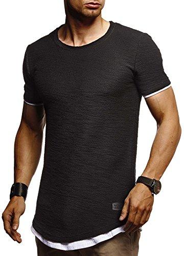 Leif Nelson Herren Sommer T-Shirt Rundhals-Ausschnitt Slim Fit Baumwolle-Anteil Moderner Männer T-Shirt Crew Neck Hoodie-Sweatshirt Kurzarm lang LN8223 Schwarz Large
